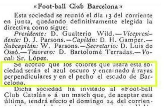 """Los Deportes"""" informaba el 17 de diciembre de 1899 sobre cómo debía ser la equipación del FC Barcelona."""