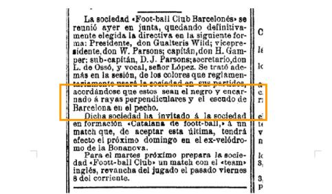 Nota sobre el uniforme en el diario 'La Vanguardia' del 15/12/1899.