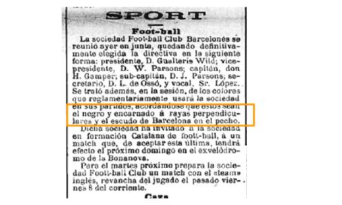 Nota sobre el uniforme en el diario 'La Publicidad' del 15/12/1899.
