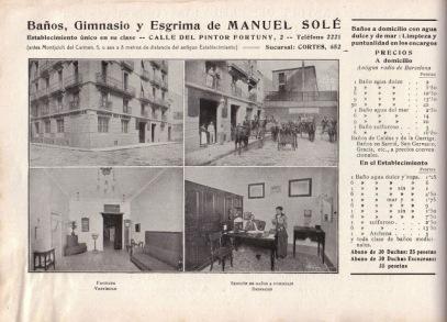 Publicitat del Gimnàs Solé a l'any 1915