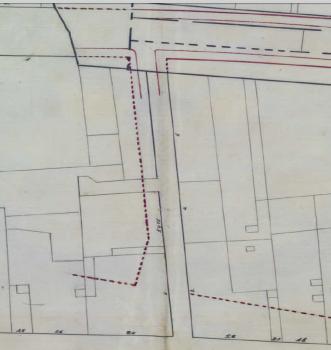 Projecte de prolongació del carrer Pintor Fortuny a 1916 amb la cruïlla amb Montjuïc del Carme amb la numeració existent a les finques.