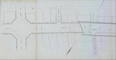 Projecte de prolongació del carrer Pintor Fortuny a 1916 amb la cruïlla amb Montjuïc del Carme. Traç gruixut correspon a l'espai ocupat pel