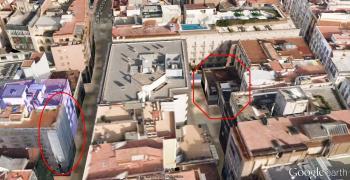 Vista aerea actual i situación dels antica Gimnàs Solé