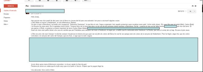Correspondència rebuda de la besneta de Otto Maier al 2013